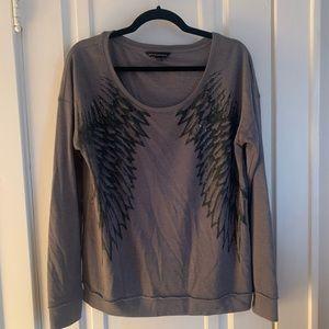 Trendy winged gray crew neck sweatshirt